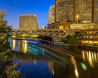 Chicago River Bridge at Night Art Photography Print Wall Decor