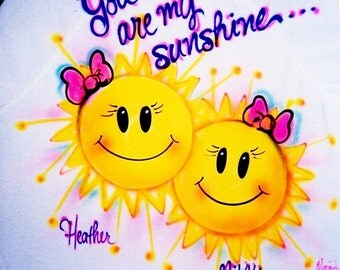 you are my sunshine, Grandma gift, airbrush t shirt, smiley face sun, sun with face, personlaized t shirt, custom tees, personalized gifts