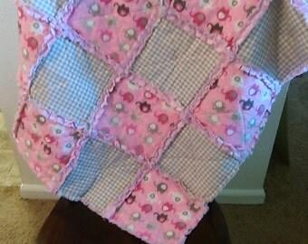 Handmade Baby girl rag quilt. Pink/Grey. Minky. Elephants.