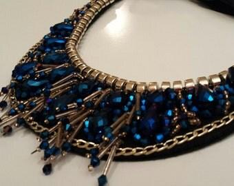 Collar Necklace -Blue - Detachable Collar Necklace -Statement Necklace