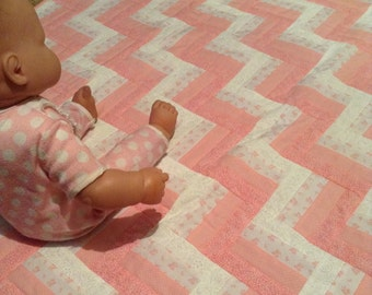 Pink Ombre Rail Fence Baby Quilt