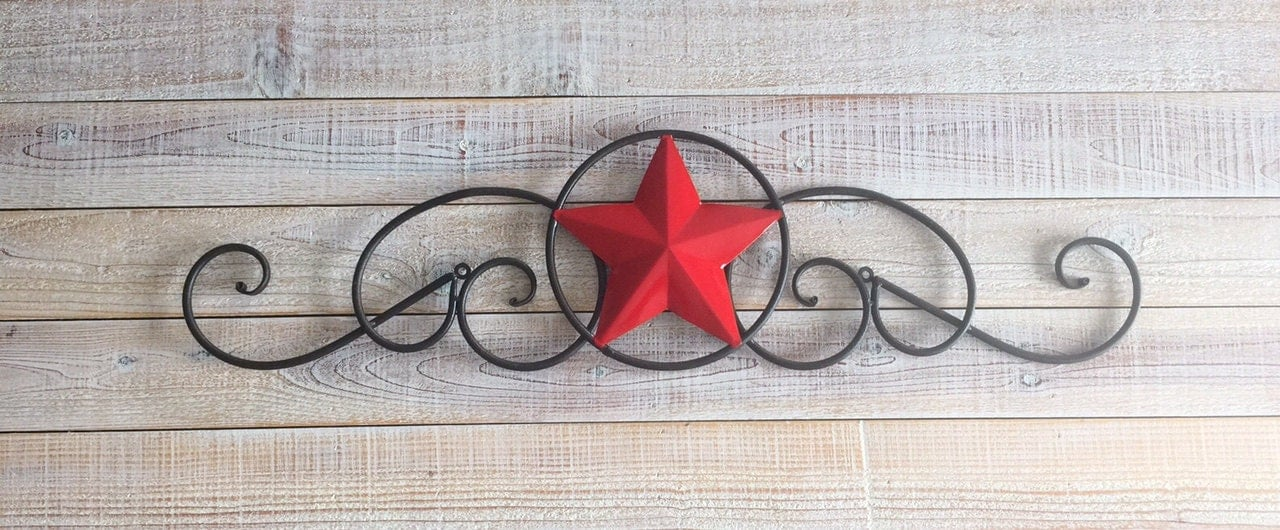 Red Star Wall Decor : Star red wall plaque decor texas country by