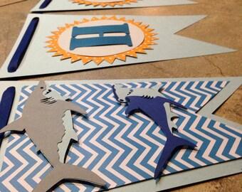 Shark Happy Birthday Banner, Decor, Party