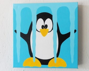 Childrens Art , Childrens wall art, Childrens room , Babys room, Penguin art
