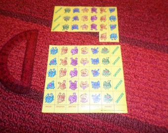 Vintage Boglins Stamps cereal premium Kelloggs  1987 yellow blue purple