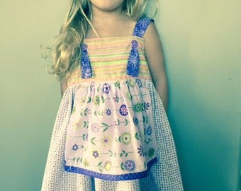 "Girls summer ""country"" dress with an apron."