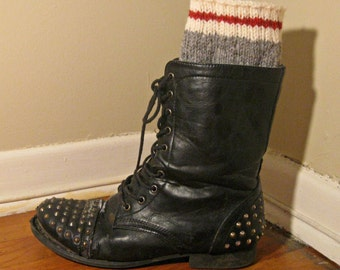 Boot Cuffs Red, White, and Grey %100 Wool