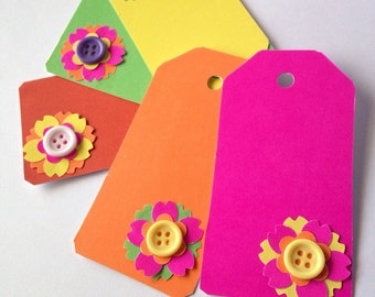 Handmade Neon Tags with Flowers and Buttons, Embellished Tags, Scrapbook Tags, Gift Tags, Decorated Tags, Simple Tags