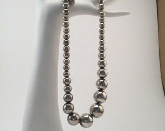 Vintage silver metal bead necklace, Dramatic  vintage silver tone metal bead necklace