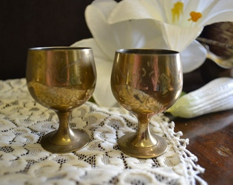Pair of Brass Chalices