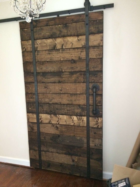 Custom made handmade wooden interior rustic sliding barn doors for Custom barn doors