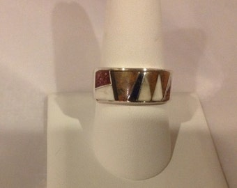 Native American Navajo Sterling Silver Calvin Begay Inlaid Ring