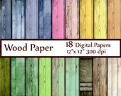"Wood Digital Paper: ""WOOD PAPER"" Wood Backdrop Painted Wood Texture Paper Background Wood Scrapbook Paper Rustic Wood Paper Instant Download"