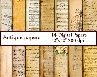 "Antique Digital Papers: ""VINTAGE PAPER"" Ephemera Papers Decoupage papers Dictionary Pages Music sheet paper Vintage Handwritten Letters"