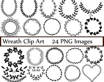 Wreath Clip art: ''DIGITAL WREATH'' laurel wreath clipart wedding wreath hand drawn Laurel Wreath Clip Art Commercial Use Instant Download