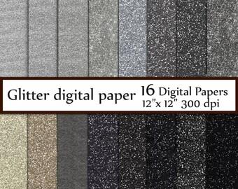 "Silver Glitter Digital Paper: ""GLITTER PAPER"" Grey Black Glitter Paper Texture  Paper Printable Paper Glitter Texture Instant Download"
