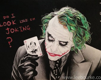 The Joker, Heath Ledger, (The Dark Knight), authentic print of original artwork