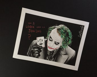 The Joker, Heath Ledger, (The Dark Knight), authentic print of original artwork by Lee Bourke