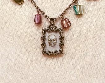 Skull Necklace - Rainbow Stones