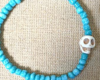 Turquoise Seed Bead Skull Bracelet