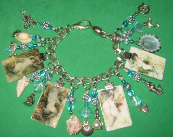 Victorian Mermaids-Altered Art Charm Bracelet