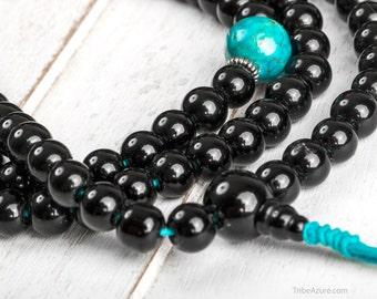 Black Onyx 108 Mala Beads With Turquoise - Black Onyx Buddhist Rosary, Buddhist Prayer Beads, Yoga Healing Stone Mala Meditation Prayer Bead