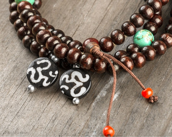 Rosewood Om Mala Beads With Turquoise& Coral 108 Prayer