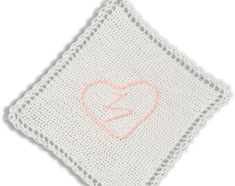 Crochet Potholder with embroidered heart