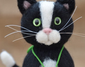 Needle felted cat, black & white cat handmade by ElviFelts
