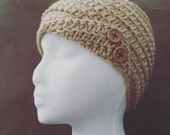 Cream colored fold up hat with wood buttons -any colors available
