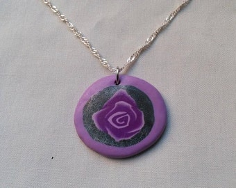 Shimmering Purple Rose Charm