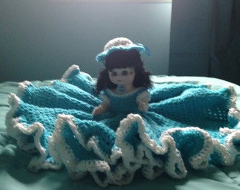 Crochet Bed Doll, collectible, girls, bedroom decor, toys, birthday gift, beds, linens, home decor, home living, holidays, dolls, handmade