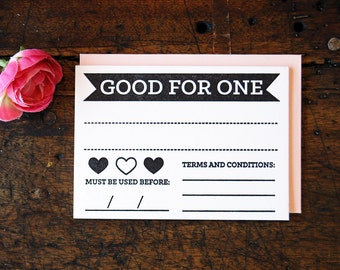 Valentine's Day Coupon - Good For One Coupon - Letterpress Coupon - Gift Coupon
