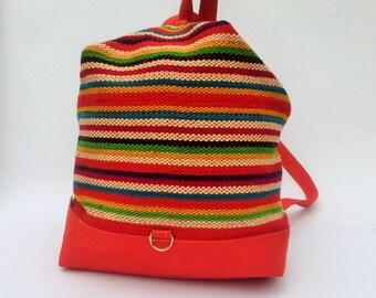 BACKPACK Peruvian Handwoven Wool Bag, Andean patterns, Peru bag, Hipster backpack, Ethnic rucksack, Boho backpack, Tribal bag, Dark red