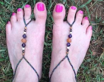 Amethyst Beaded Barefoot Sandals