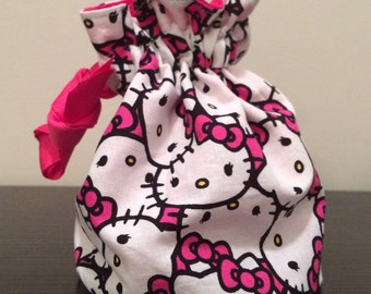 Drawstring bag, Hello Kitty pattern