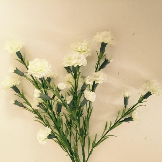 Silk Wedding Flowers In Maryland : Cream silk carnation flower bundle faux by flowerfantasee