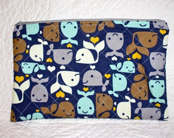 Zippered Diaper Pouch, Whales, Quilted Diaper Bag, Baby Boy Pouch, Lined, Ready to Ship