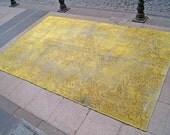"RUSTIC YELLOW Overdyed Carpet - 6'0"" x 9'6"" - 1940s Anatolian Handwoven Oushak Decorative Overdyed Rug"