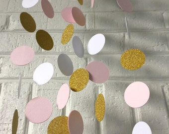 Pink, White and Gold Glitter Paper Circle Garland. Birthday Party, Nursery room decor and any type of celebration.