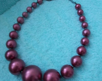Gorgeous Russetty-Aubergine Vintage Chunky Over-Sized Necklace