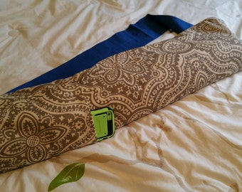 Yoga mat bag with pocket - light grey and blue