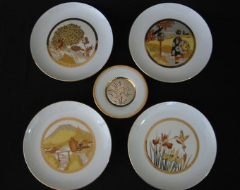 Vintage Japanese Art of Chokin plates x 5