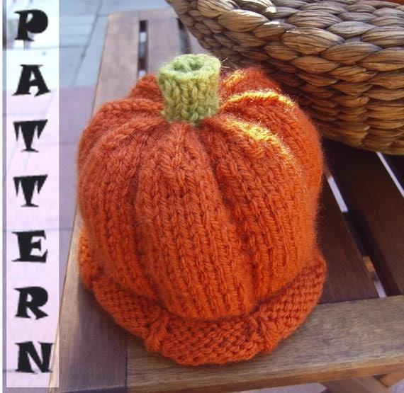 Knitting Gifts For Adults : Halloween gift pumpkin hat pattern knitting tutorial diy