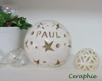 "Personalized lamp with name, birth, baptism lamp ""Paul"" 11 cm, 16 cm, 20 cm diameter"