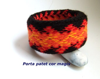 Black bracelet with flames, Upcycling