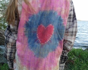 Bleached and tie dyed flannel - heart