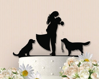 Cute Couple with Dogs Cake Topper