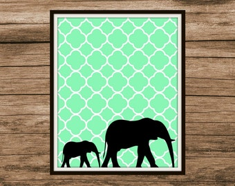 Mom & Baby Elephant Digital Print | Instant Download