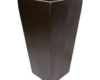 Windsor Tall Square Modern Planter - Brown. Made from hand laid fiberglass. For Indoor and outdoor garden use. Various sizes available.